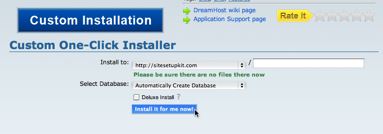 DreamHost One-Click Install options