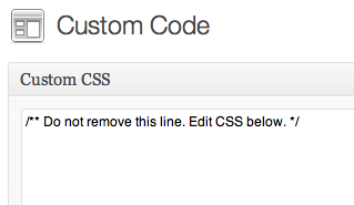 Paste Custom CSS into the new Custom Code page