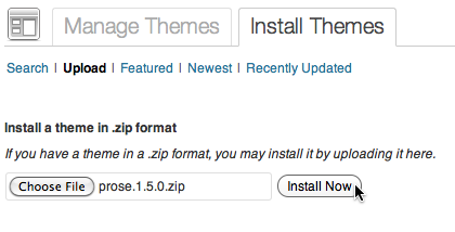 WordPress Install Themes screen