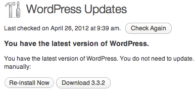 WordPress Updates showing version 3.3.1 installed
